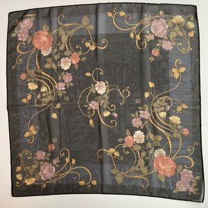 "Sheer black scarf by Liz Claiborne floral 26"" sq"